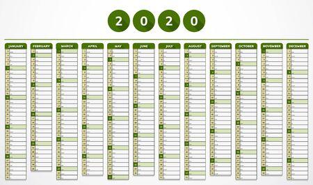 Vector calendar for year 2020 in modern eco green design for companies Vectores