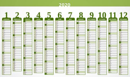Vector calendar for year 2020 in modern green design for companies