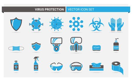 Vector set of two colored icons about virus protection and its accessories