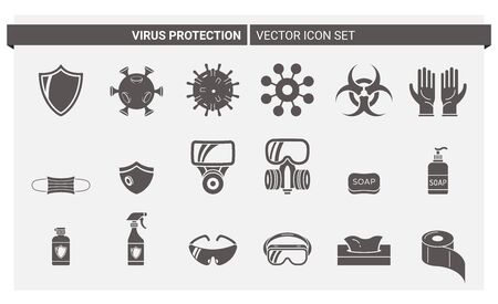 Vector set of silhouette icons about virus protection and its accessories