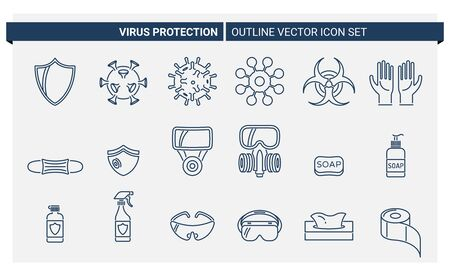 Vector set of outline icons about virus protection and its accessories Vectores