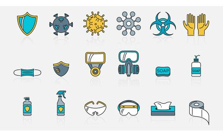 Vector set of outline color icons about virus protection and its accessories Vectores
