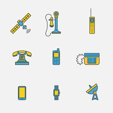 Vector collection of various phone icons in outline colored design