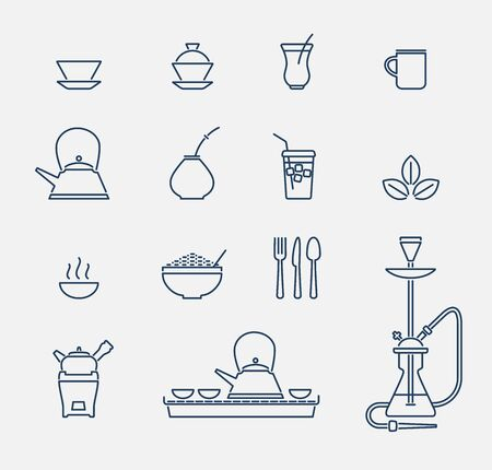 vector set of outline icons related to drinking tea in pub