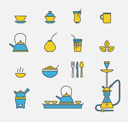 vector set of colored outline icons related to drinking tea in pub
