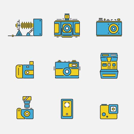 Vector collection of camera technology icons in colored outline design