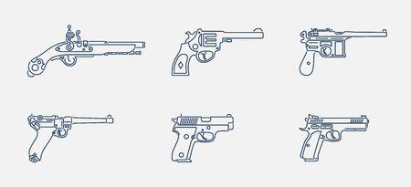 Vector set of pistol and handgun icons in outline design