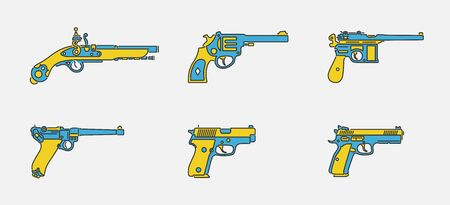 Vector set of pistol and handgun icons in outline color design