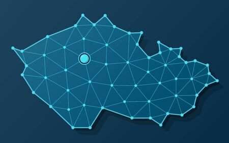 Vector map of Czech Republic in futuristic blue design with connected dots and capital city of Prague
