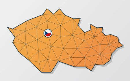 Vector map of Czech Republic in orange mesh design with flag icon on the spot where is the capital city of Prague Vectores