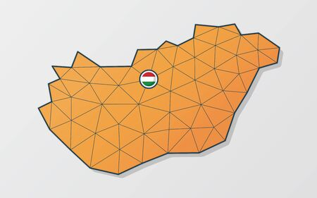 Vector map of Hungary in orange mesh design with flag icon on the spot where is the capital city of Budapest Vectores