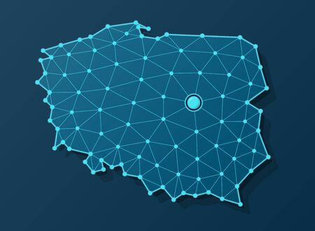 Vector map of Poland in futuristic blue design with connected dots and capital city of Warsaw Vectores