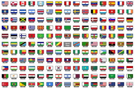 Set of national flags in rectangle icons and national code Vectores