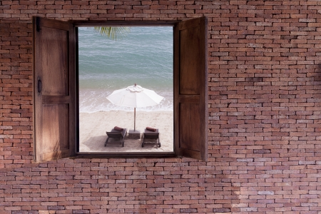 window and the beach photo