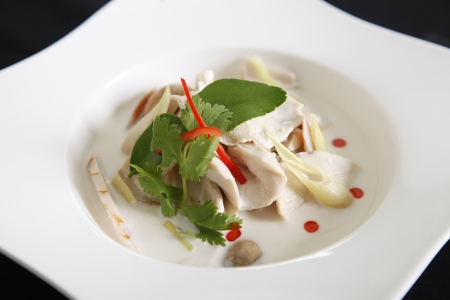 Chicken and coconut milk soup photo
