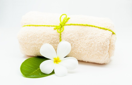 Spa towel with flower  Stock Photo