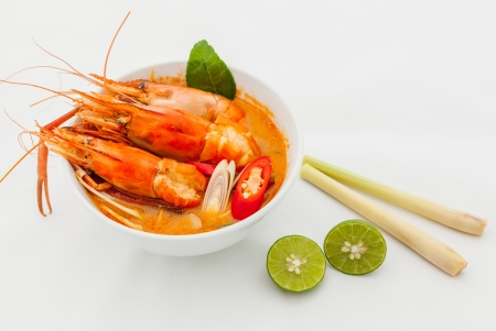 popular soup: Thai Food Tom Yum Goong,Thai popular soup.
