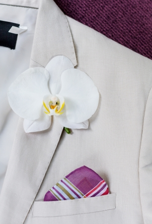 Wedding Boutonniere On Jacket Groom. photo