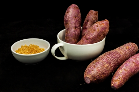 Sweet potatoes with brown sugar. photo