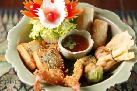 favourites: Thai favourites with spring roll vegetable and shrimp tempura.