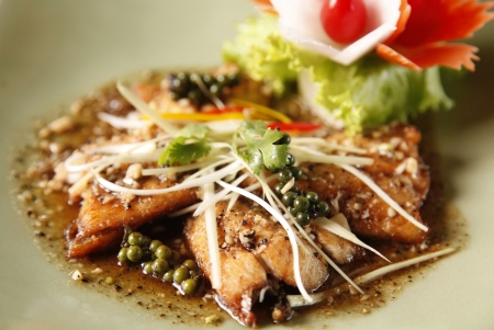 Authentic thai cuisine with decoration and flavour. photo