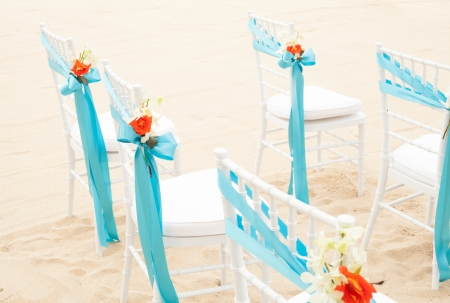 The chairs for wedding venue on the beach. photo