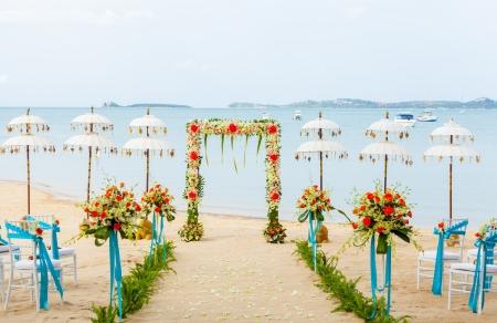 The wedding ceremony venue on the beach