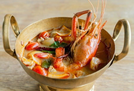 Thai food Tom Yum Goong,Thai popular soup  photo