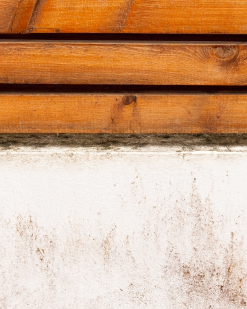 Background of white old concrete and wood wall textured. photo