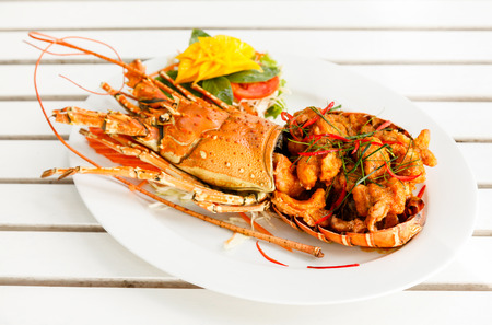 lobster tail: Gourmet spice curry lobster. Stock Photo