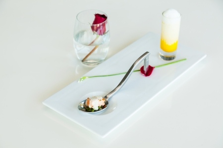 The tasty  appetizers on spoon  photo
