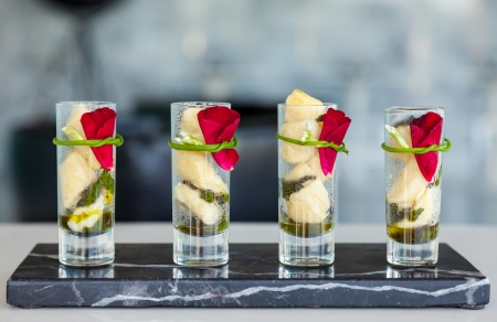 catering food: The tasty  appetizers in glass