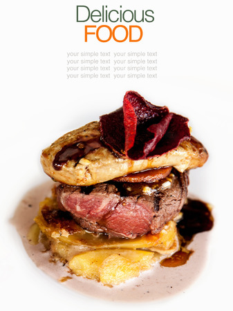 Australian premium fillet tenderloin steak with Fried foie gras  photo