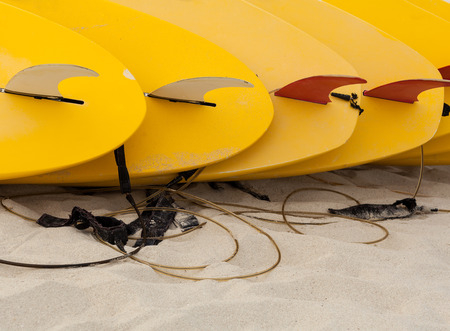 Surfboards put on the beach. photo