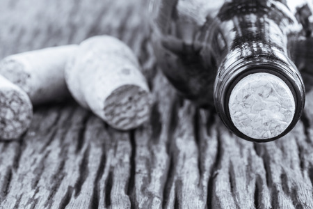 Some very old wine bottles - in  Black and White shot. photo