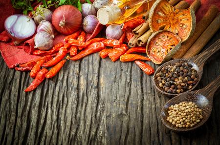 Thai-Food Kochen Zutaten. - Gewürz tast