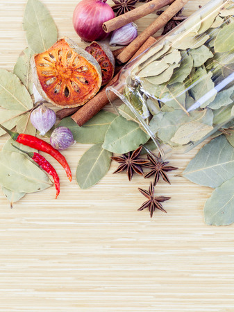 tast: Food Cooking ingredients. - spice tast with copy space. Stock Photo