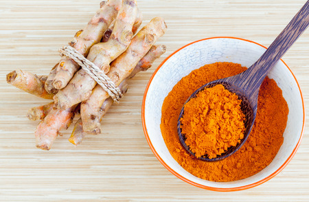 Natural Spa Ingredients . - Turmeric and honey  for skin care. Archivio Fotografico