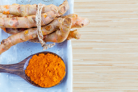 curcumin: Natural Spa Ingredients . - Turmeric and honey  for skin care. Stock Photo
