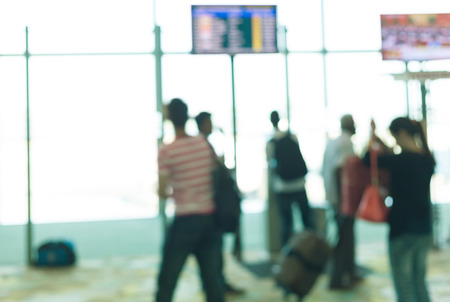 hurrying: Hurrying crowd of pasenger in the airport. Abstract picture. Stock Photo