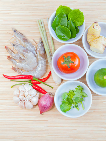 popular soup: Ingredients for Thai most popular soup . - or Tom Yam Kung