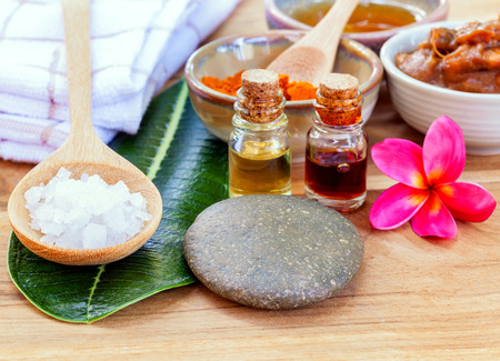 All of thai skin care ingredients. - Macro shot with copy space.
