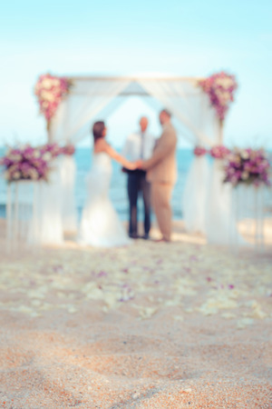 Defocus wedding ceremony venue on the beach , abstract blur background for card design, blurred wallpaper and illustration. illustration