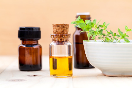 Bottle of essential oil and lemon thyme leaf on wooden background. Stock Photo