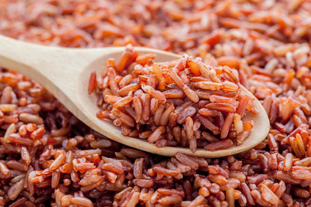 rice: Steamed whole grain traditional thai rice best rice for healthy and clean food on wooden background Stock Photo