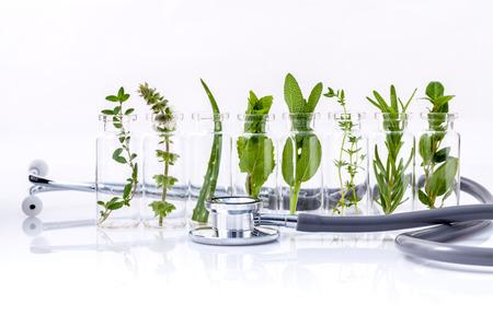 ハーブ ホーリーバジルの葉、ローズマリー、オレガノ、セージ、バジル、白背景に聴診器でミントのエッセンシャル オイルのボトル。