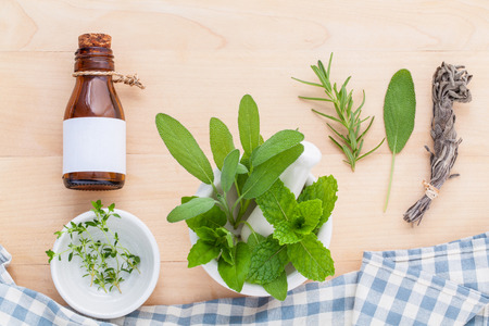alternative health: Alternative health care fresh herbal in white mortar on wooden background.
