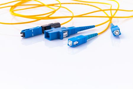 Fiber Optics connectors symbolische foto tot snel internet, Internet Service Provider equipment.broadband verbinding is overal beschikbaar. Stockfoto