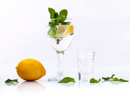 lemon: Mojito cocktail with fresh mint leaves isolate  on white background. Stock Photo