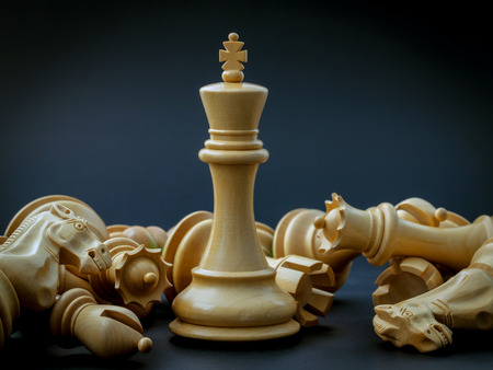 win: Chess concept save the king and save the  strategy. Stock Photo